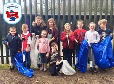 Bennetts End Adventure Playground litter pickers for the Great British Spring Clean