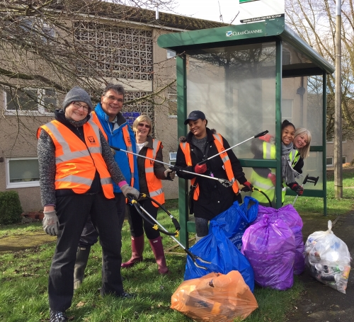 Litter pickers in Hemel Hempstead taking part in the Great British Spring Clean