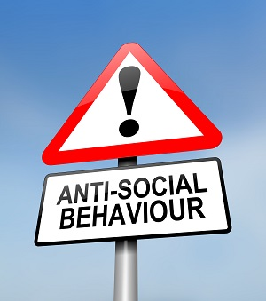 Sign warning against anti-social behaviour