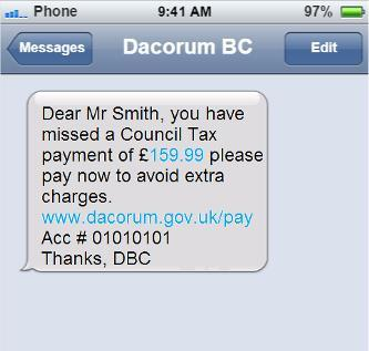 Example of our text message payment reminder