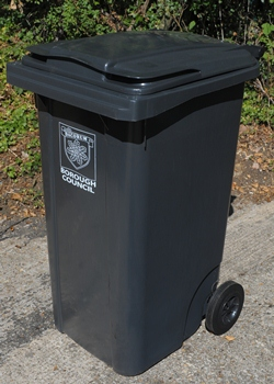 Photo of a grey wheeled bin