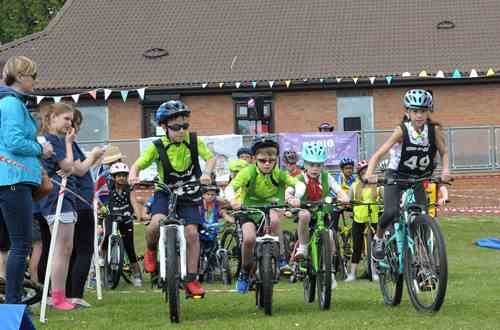 Children taking part in a race at Dacorum Cycle Hub