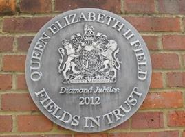 "Plaque in Gadebridge Park which reads: ""Queen Elizabeth 2 Field, Fields in Trust, Diamond Jubilee 2012"""
